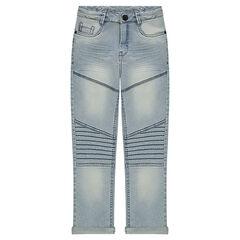 Junior - Jeans skinny 7/8ème effet used avec découpes
