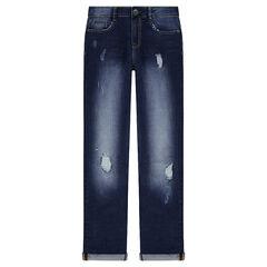 Junior - Jeans met used en crinkle effect en slijtage