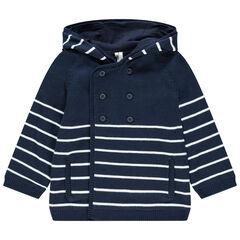 Gilet à capuche rayé en tricot doublé jersey