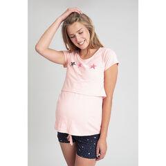 T-shirt homewear de grossesse et d'allaitement print étoiles