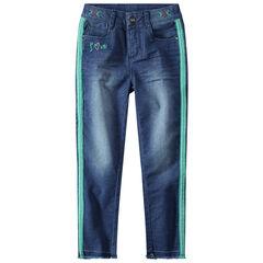 Jeans met used en crinkle effect en stroken