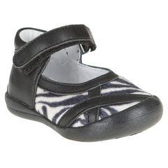 Baby's in leder in zwarte kleur met inzetstuk in zebra
