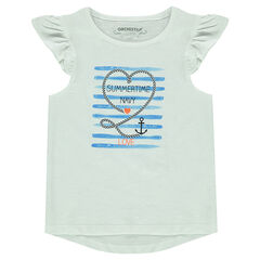 Tee-shirt manches courtes volantées avec print fantaisie