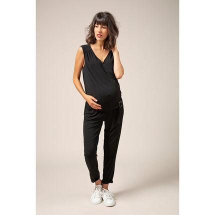 Lange zwangerschapsjumpsuit met verstelbare riem