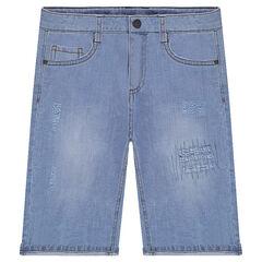 Junior - Bermuda en jeans effet used