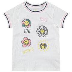 T-shirt met korte mouwen met bloemen in lovertjes ©Smiley