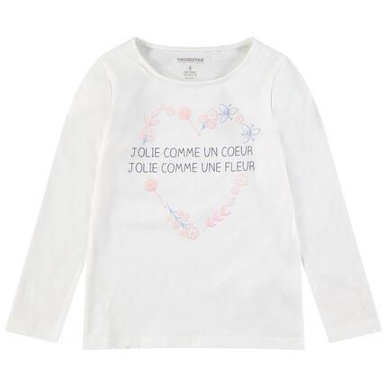 Tee-shirt manches longues en jersey avec message printé