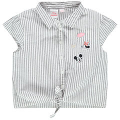 Chemise manches courtes à rayures et patchs Mickey Minnie Disney