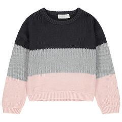 Pull en tricot tricolore en maille fantaisie