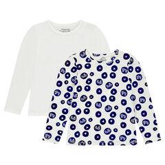 """Junior - Set met 2 T-shirts met lange mouwen van jerseystof met print """"all-over"""" / effen."""