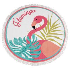 Seerviette de plage ronde avec flamant rose et franges
