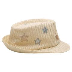 Borsalino effet paille avec étoiles brodées