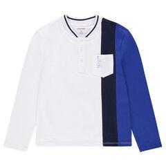 Junior - Polo met lange mouwen in drie kleuren met baseballkraag