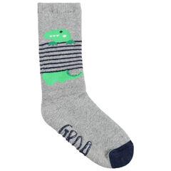 Paire de chaussettes hautes antidérapantes à rayures et dinosaure en jacquard
