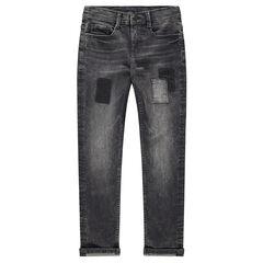 Junior - Jeans effet used et crinkle gris avec patchs et ombres de patchs