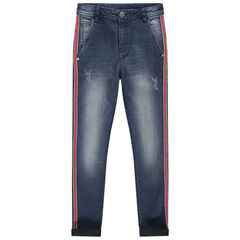 Junior - Slim fit jeans met used effect en contrasterende banden