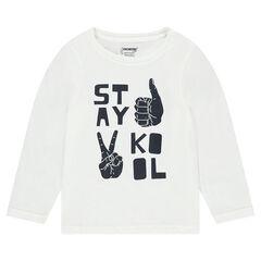 Junior - T-shirt met lange mouwen uit jerseystof met boodschap en print met handen