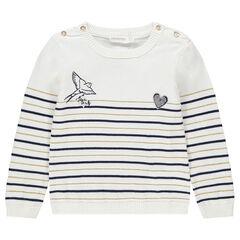 Trui van tricot met contrasterende strepen en hartje van lovertjes