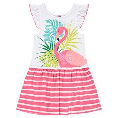 Jurk met volant met roze flamingo en streepjesprint