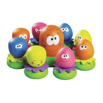 Set van 9 badspeeltjes Octopusfamilie - Meerkleurig