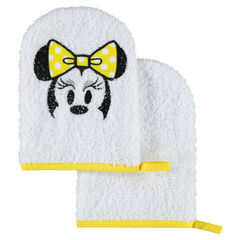 Set de 2 gants de toilette en éponge Disney motif Minnie brodée