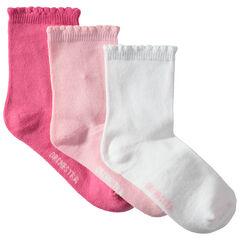 Set met 3 paar effen sokken met decoratieve ribrand