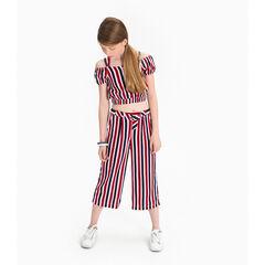 Pantalon palazzo en viscose avec rayures contrastées