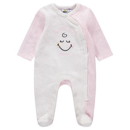 Pyjama van tweekleurig velours met Smiley