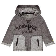 Gilet à capuche en jersey contrecollé avec inscription printée