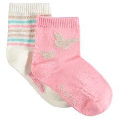 Set met 2 paar sokken met blinkende motieven