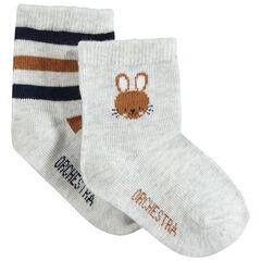 Lot de 2 paires de chaussettes assorties avec lapin en jacquard et rayures