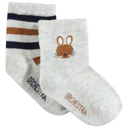 Set met 2 paar bijpassende sokken met konijn van jacquard en strepen