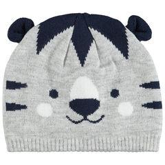 Bonnet en tricot tigre avec oreilles en relief