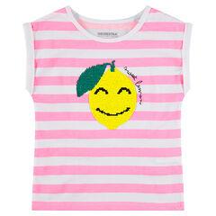 T-shirt met korte mouwen van jerseystof met citroen van magische lovertjes