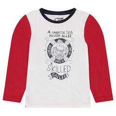 Tee-shirt manches longues en jersey avec marin printé