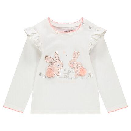 T-shirt met lange mouwen van jerseystof met opgestikte konijnen en pompons