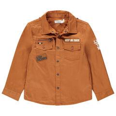 Surchemise en twill esprit militaire doublée jersey à poches