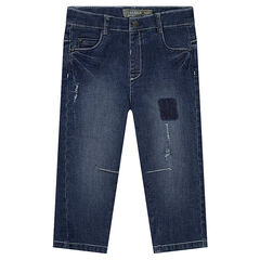 Straight-fit jeans met used effect