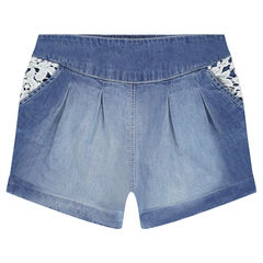 Short uit chambray en kant