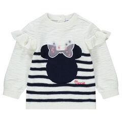 Pull en tricot slub avec Minnie ©Disney en jacquard et noeud en tulle