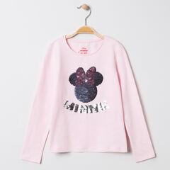 T-shirt manches longues motif Minnie Disney en sequins magiques