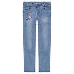 Junior - Jeans effet used et crinkle avec badge ©Smiley scintillant