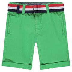 Junior - Bermuda van effen twill met verwijderbare riem in drie kleuren