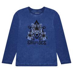 Junior -  Geverfd T-shirt met lange mouwen en print met tijger