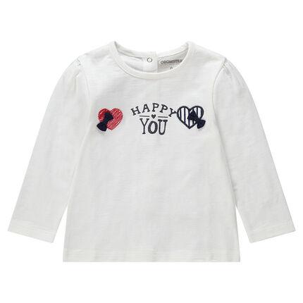 T-shirt manches longues en jersey avec coeurs brodés et noeuds