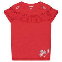 Tee-shirt manches courtes en jersey avec volant et prints argentés