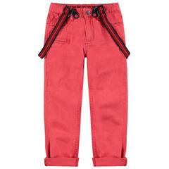 Pantalon en coton surteint avec bretelles ajustables amovibles