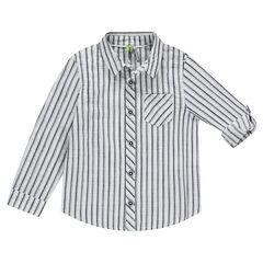 Gestreept hemd met lange mouwen en oprolbare mouwen