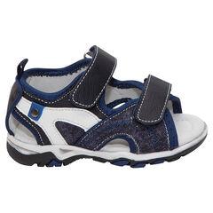 Sandalen uit twee materialen met klittenbandsluiting - SAXO BLUES