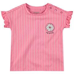 T-shirt met korte mouwen met volants met knoopsluiting